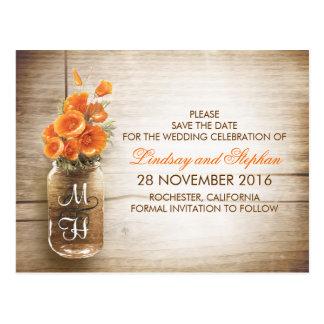 las flores del tarro y del naranja de albañil tarjeta postal