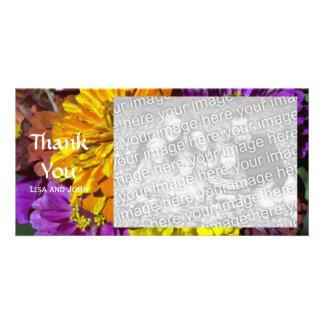 Las flores del Zinnia del jardín le agradecen Tarjetas Personales Con Fotos