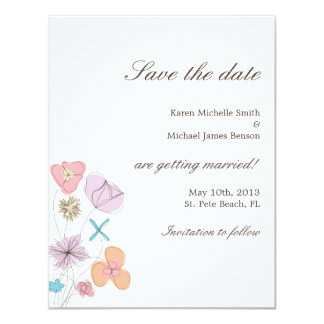 """Las flores dibujadas mano ahorran la fecha invitación 4.25"""" x 5.5"""""""