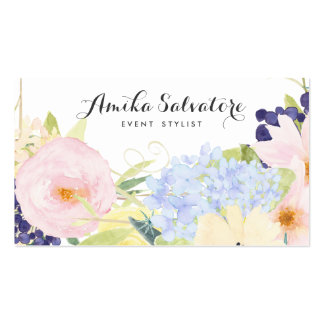 Las flores en colores pastel de la primavera tarjetas de visita
