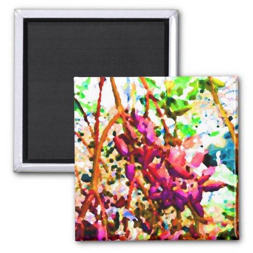las flores florales abstractas del cactus invierte imán de frigorifico