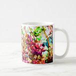 las flores florales abstractas del cactus invierte tazas