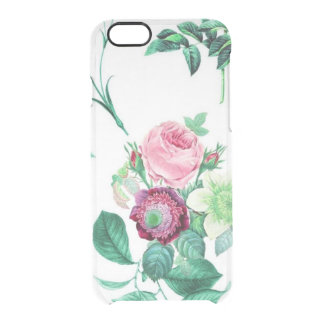 Las flores florales del vintage claro subió el funda clear para iPhone 6/6S
