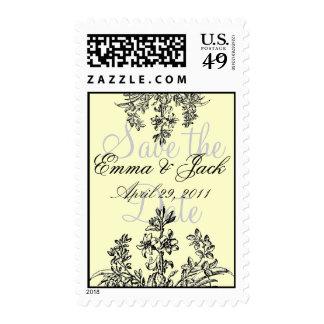 las flores, flores, ahorran la fecha, la Emma y Sello Postal
