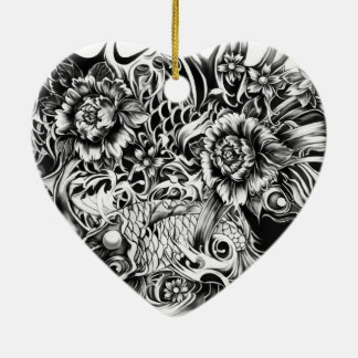 Las flores japonesas del koi y de loto tatúan arte adorno de navidad