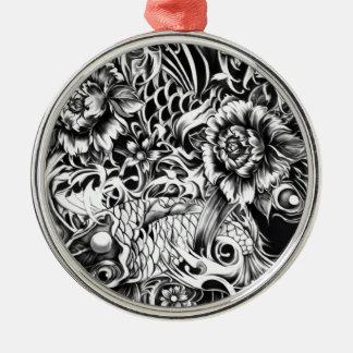 Las flores japonesas del koi y de loto tatúan arte ornamento de reyes magos