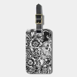 Las flores japonesas del koi y de loto tatúan arte etiquetas para maletas