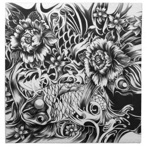Las flores japonesas del koi y de loto tatúan arte servilleta imprimida