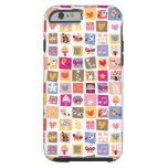 las flores lindas, pájaros, corazones ajustan el funda de iPhone 6 tough