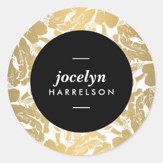 Las flores modernas del oro personalizaron a los pegatina redonda
