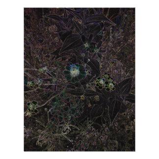 Las flores negras elegantes y las hierbas salvajes membrete personalizado