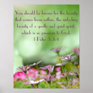 Las flores púrpuras con la biblia versifican 1 3:3 póster
