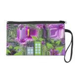 Las flores púrpuras con reciclan símbolos