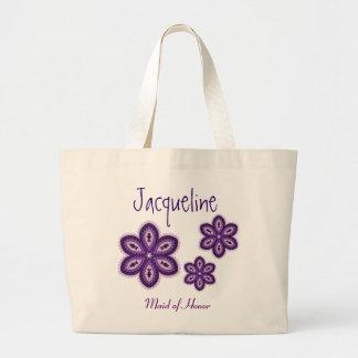 Las flores púrpuras del cordón personalizaron a la bolsa lienzo