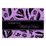 Las flores púrpuras le agradecen criada de la tarj tarjetas