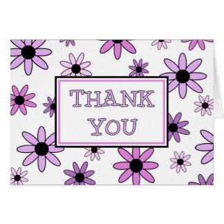 Las flores púrpuras le agradecen tarjeta del flori