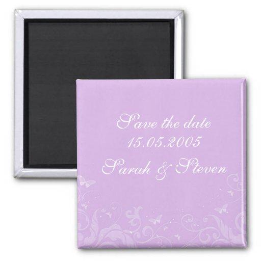 Las flores púrpuras románticas de lujo ahorran la  imán cuadrado