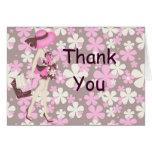 Las flores retras le agradecen Notecard (CA rosado Tarjetón