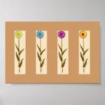 Las flores retras póster