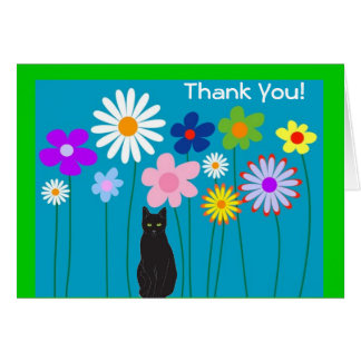 Las flores retras y el gato negro le agradecen las tarjeta pequeña
