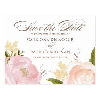 Las flores románticas de la acuarela ahorran la tarjeta postal