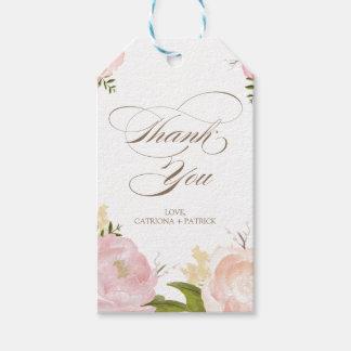 Las flores románticas de la acuarela le agradecen etiquetas para regalos