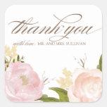 Las flores románticas de la acuarela le agradecen calcomania cuadradas personalizada