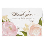 Las flores románticas de la acuarela le agradecen tarjeta de felicitación