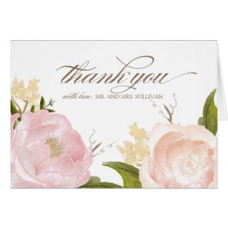 Las flores románticas de la acuarela le agradecen felicitaciones