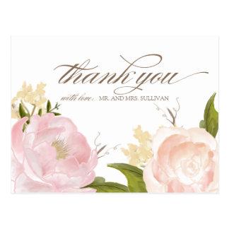 Las flores románticas de la acuarela le agradecen tarjeta postal