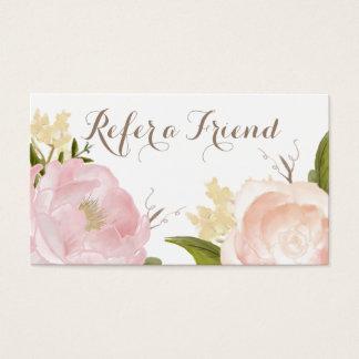 Las flores románticas de la acuarela refieren una tarjetas de visita