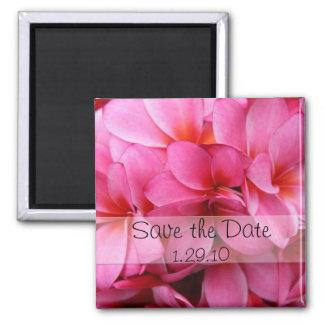 Las flores rosadas ahorran la fecha imán cuadrado