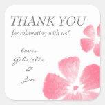 Las flores rosadas de la acuarela le agradecen los pegatina cuadradas personalizada