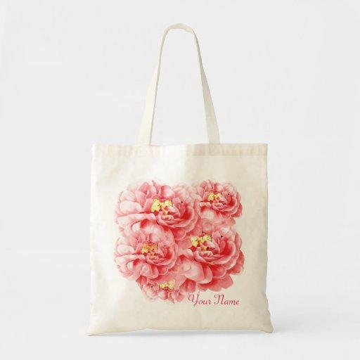 Las flores rosadas de los rosas personalizan el to bolsa de mano