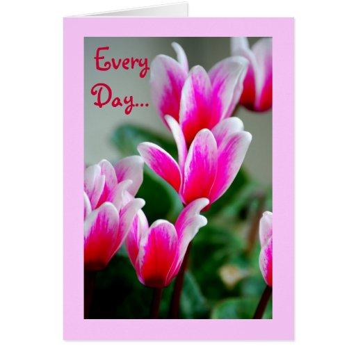 Las flores rosadas del Cyclamen de Hawaii, Tarjeta De Felicitación