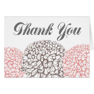 Las flores rosadas del Zinnia le agradecen tarjeta