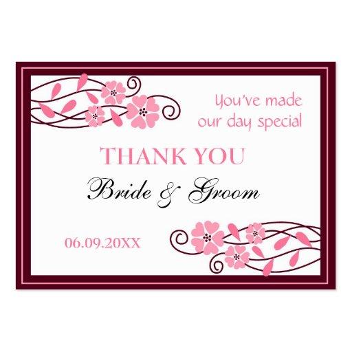 Las flores rosadas le agradecen las etiquetas del  tarjetas personales