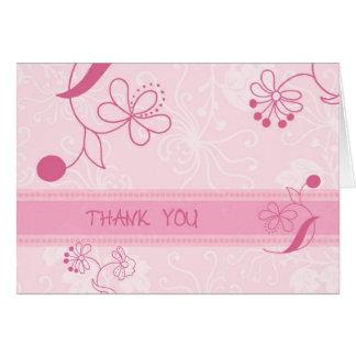 Las flores rosadas le agradecen tarjeta del floris