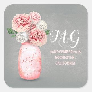 Las flores rosadas pintaron a los pegatinas del pegatina cuadrada