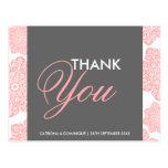 Las flores rosadas y grises del batik le agradecen tarjeta postal