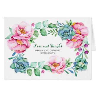 las flores rosadas y los succulents elegantes le tarjeta pequeña