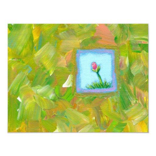"""Las flores son arte moderno único de la diversión invitación 4.25"""" x 5.5"""""""