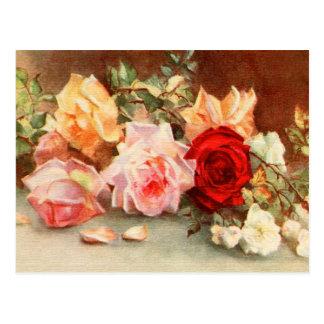 Las flores subiós antigüedad del boda del vintage tarjeta postal