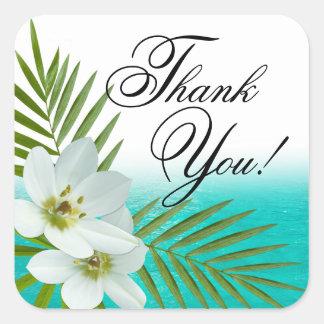 Las flores tropicales de la playa de la hawaiana pegatinas cuadradases personalizadas