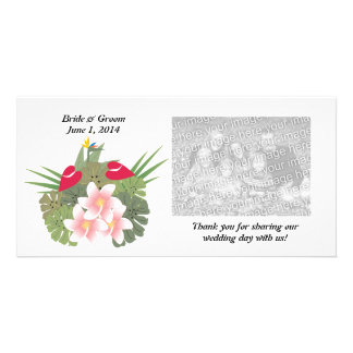 Las flores tropicales le agradecen tarjeta de la f tarjetas con fotos personalizadas