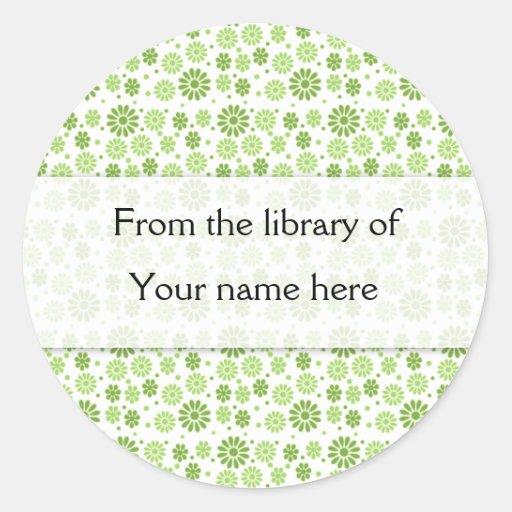 Las flores verdes de Digitaces personalizaron Pegatina Redonda