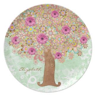 Las flores y árbol rosados florecientes - platee e plato de comida