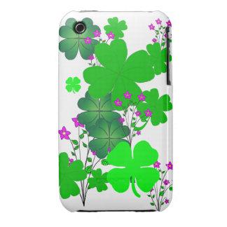 Las flores y el trébol protegen su teléfono iPhone 3 fundas