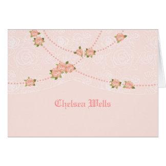 Las flores y las perlas personalizaron Notecard Tarjeta Pequeña