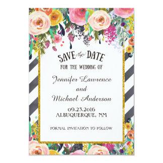 """Las flores y las rayas de la primavera ahorran la invitación 5"""" x 7"""""""